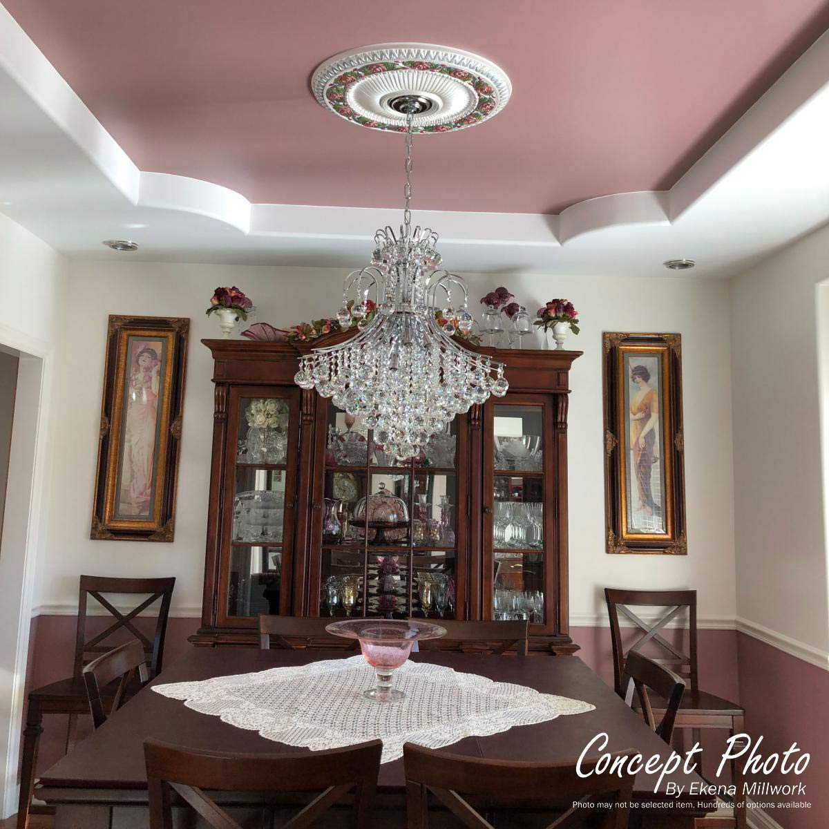 Two Piece Factory Primed White Fits Canopies up to 3 5//8 Ekena Millwork CM26LF2 26 3//4 OD ID x 1 1//8 P Leaf Ceiling Medallion
