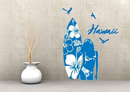 Adhesivo Pared Surfer sobre tabla de surf Hawaii Hibisco 40 x 62 cm