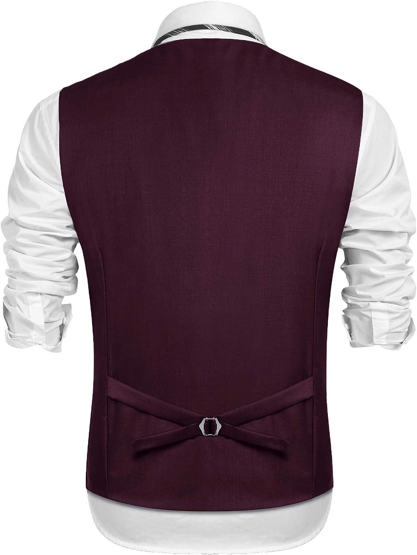 Burlady Herren Weste Anzugwesten Slim fit Anzug V-Ausschnitt /Ärmellose Kn/öpfe Brusttasche Business Hochzeitskleid