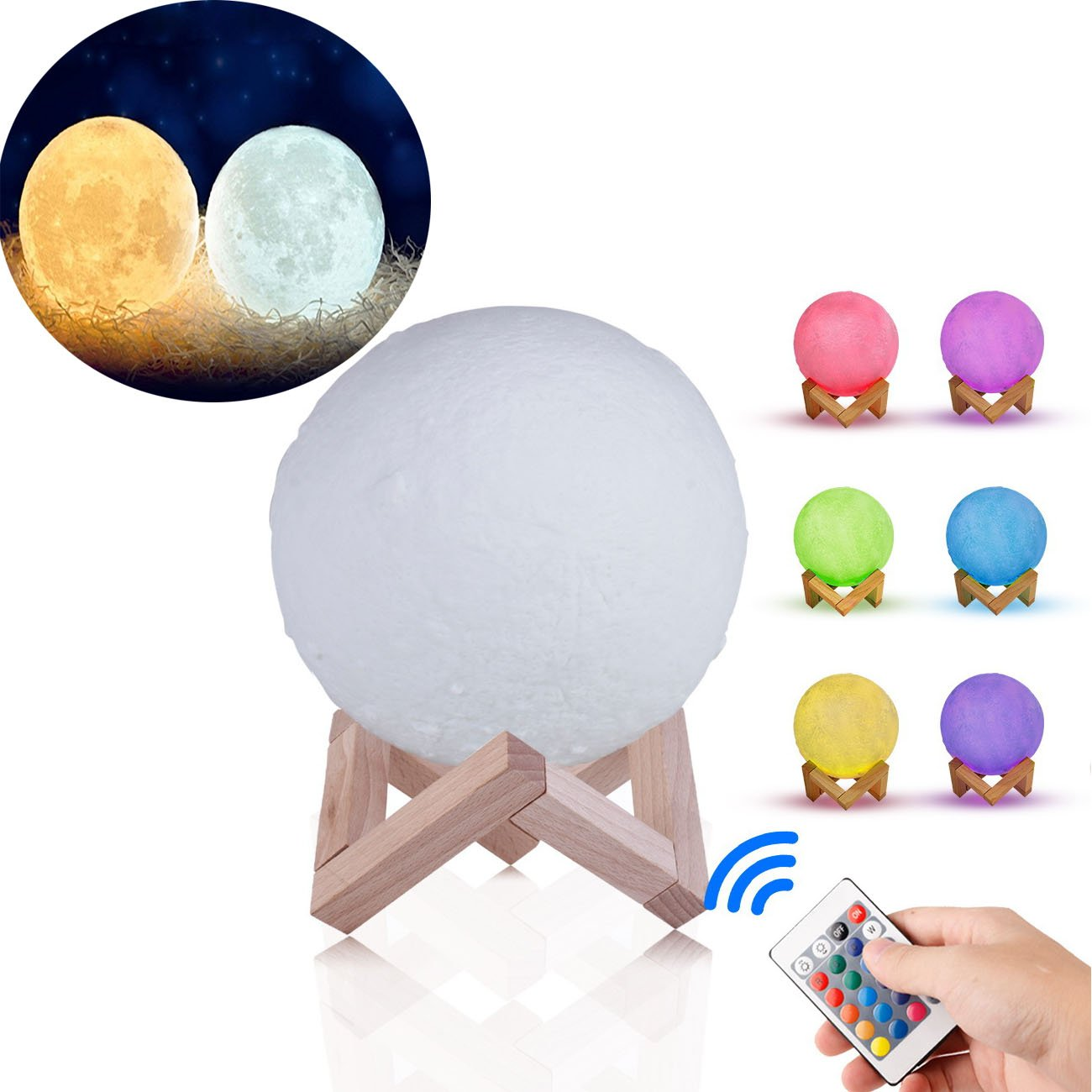 Moon Light 3D Print LED 16 Colors RGB Moon Shade Night Light Moon Lamp with Remote & Touch Control with USB Charging Moon Decor Lunar Night Light with Wooden Mount Moon Gift