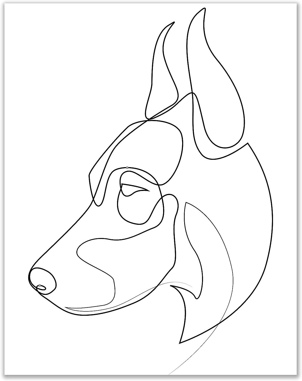 Minimalist Doberman Line Wall Art Decor Prints - Single (11x14) Inch Unframed Poster Photo - Puppy Dog Gift Idea