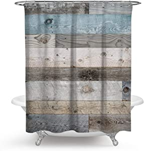 """QCWN Wooden Shower Curtain,Rustic Floor Planks Print Grungy Look Farm House Country Style Shower Curtain Set with Hooks for Bathroom Décor.Multi 70x70Inch (70"""" L70 W)"""