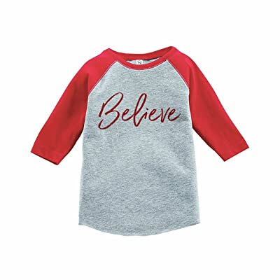 7 ate 9 Apparel Kids Believe Christmas Red Raglan Tee