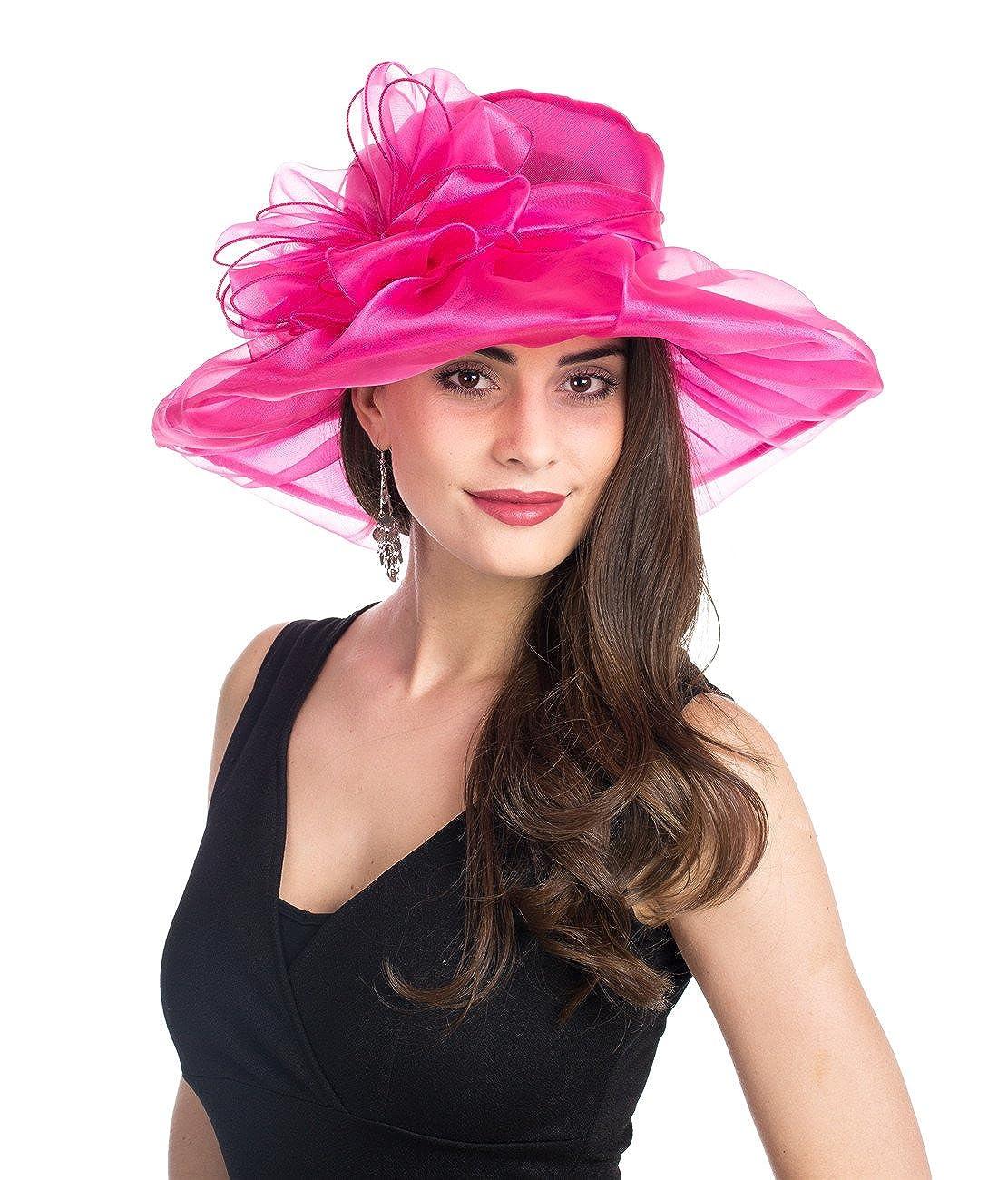 1pink Red Lucky Leaf Women Kentucky Derby Church Cap Wide Brim Summer Sun Hat for Party Wedding