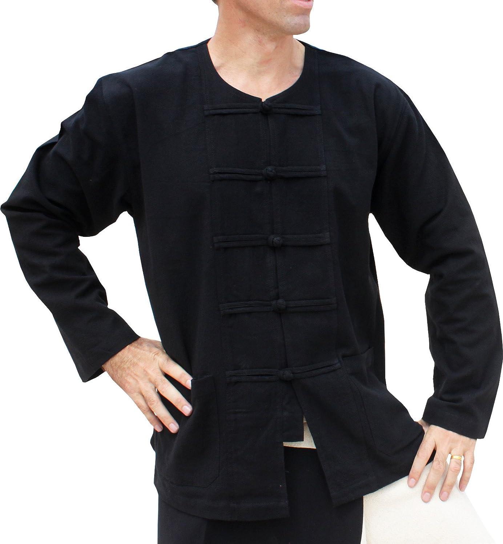 RaanPahMuang Thick Muang Cotton Frog Button Round Thai Collar Shirt or Jacket