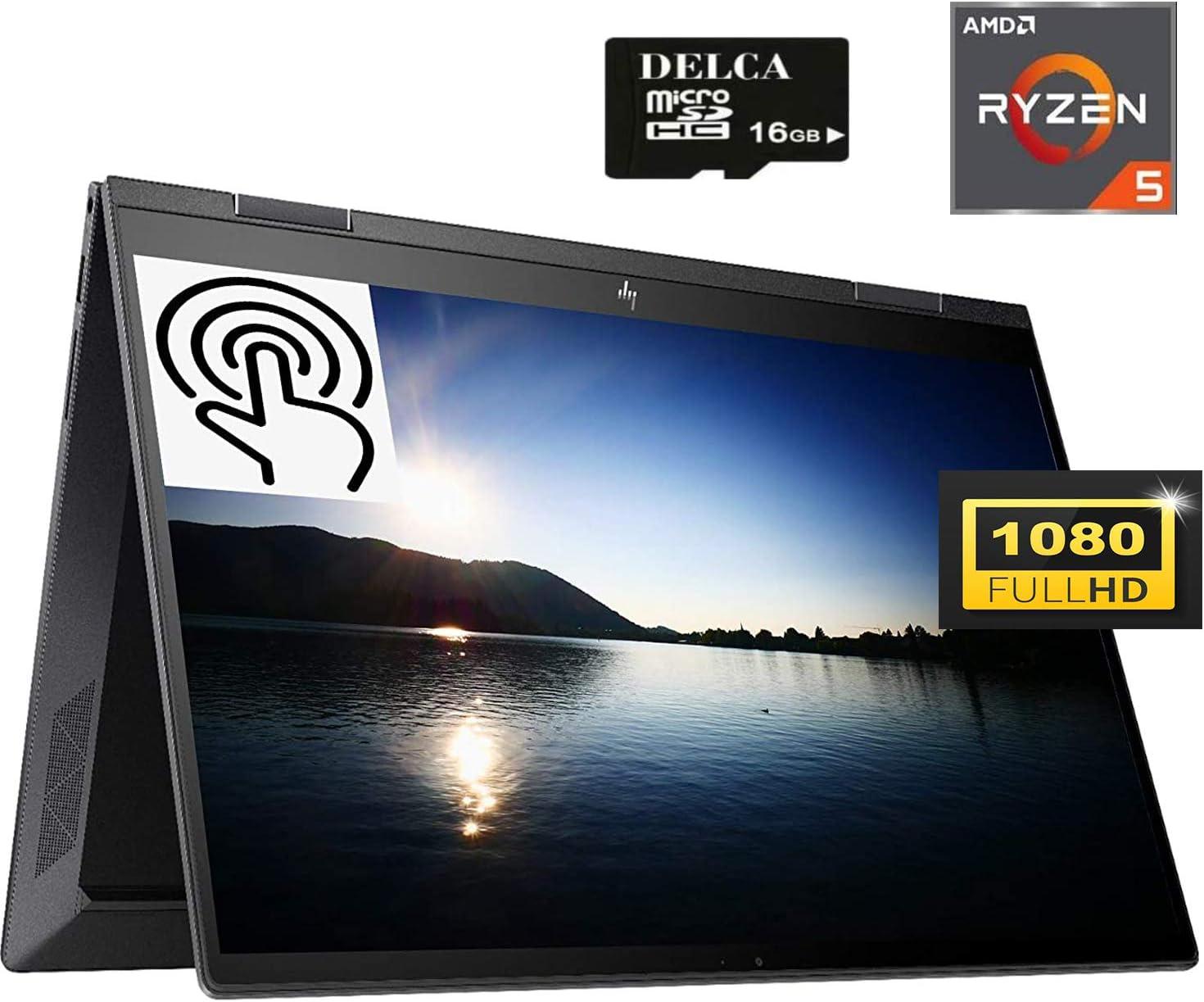 "HP Envy X360 2020 Premium 2 in 1 Business Laptop I 15.6""FHD IPS Touchscreen I AMD Hexa-Core Ryzen 5 4500U (>i7-8550U) I 8GB DDR4 512GB PCIe SSD I AlexaBacklit FP Win 10 + Delca 16GB Micro SD Card"