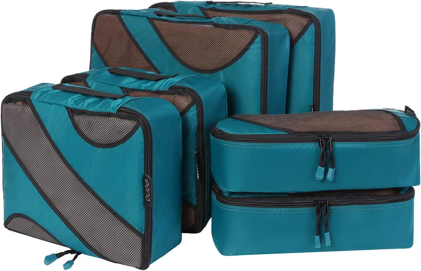 Eono by Amazon - Organizadores de Viaje Cubos de Embalaje Organizadores para Maletas Travel Packing Cubes Equipaje de Viaje Organizadores Organizadores para el Equipaje, Teal, 6 Pcs