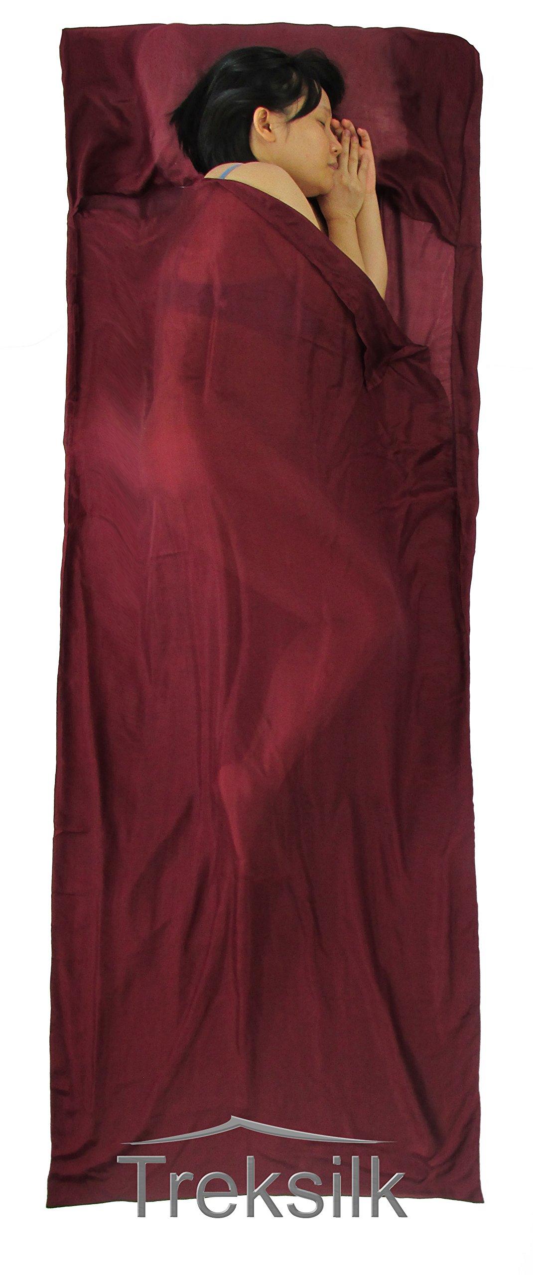 Treksilk: 240 cm! 100% Mulberry Silk Single Sleeping Bag Liner Travel Sheet Sack (Burgundy) by Treksilk