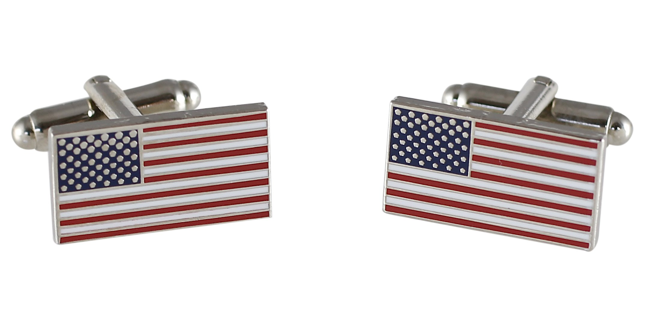 Official American Flag Cufflinks (5 Sets Silver)
