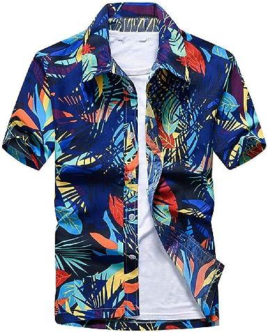NOBRAND Camisa casual hawaiana de manga corta impresa camisa ...