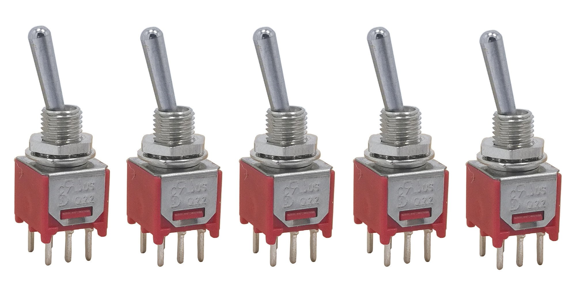 5 pcs DPDT Taiwan Subminiature sub mini ON OFF ON 3-way 6p Toggle Switch for PCB mount smt smd