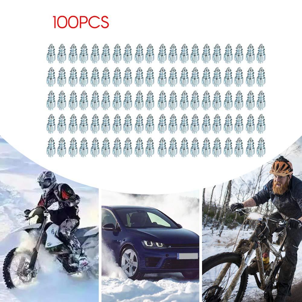 KKmoon Auto Motorrad Schnee Schraube Reifen Nieten Anti Skid fallende Spikes Winter Schneeketten 100 st/ücke f/ür Auto Motorrad Fahrrad