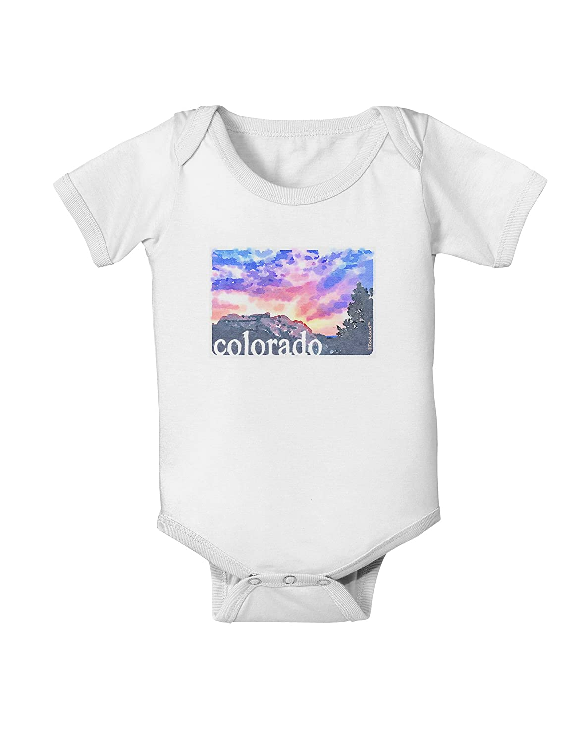 TooLoud CO Rainbow Sunset Watercolor Text Baby Romper Bodysuit