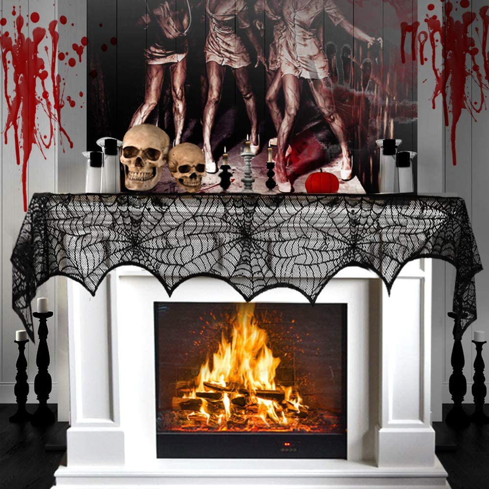 3AB Halloween Fireplace Decoration, Black Lace Spiderweb Fireplace Mantle Scarf, 18 x 96 inch Cobweb Fireplace Scarf for Halloween Party Decorations
