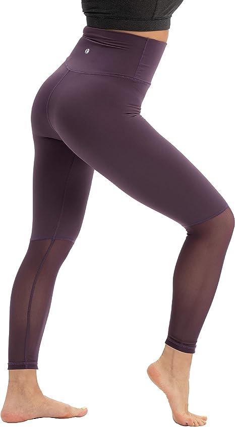 coastal rose Womens Yoga Pants 7/8 High Waisted Mesh Bike Shorts Sheer Workout Leggings with Inner Pocket