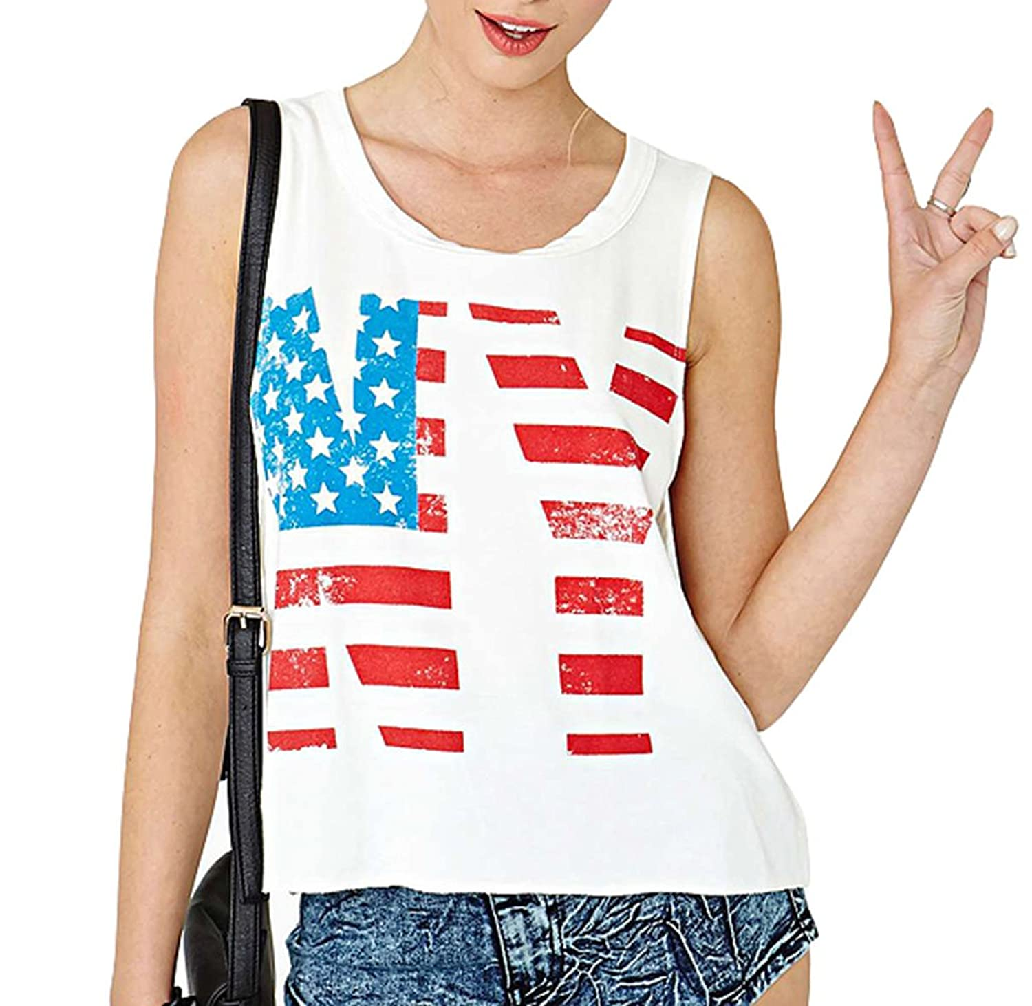 Summerwhisper Women's Vintage Flag Printed Party Tank Top T-Shirt White
