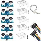 Ultrasonic Sensor, HC-SR04 Set of 5 Ultrasonic Distance Sensor Kits for Arduino UNO MEGA2560 Raspberry Pi, Dupont Jumper…