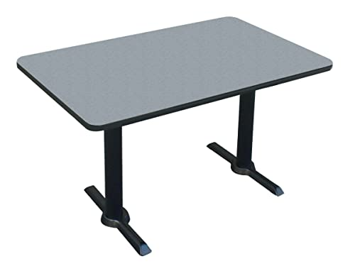 Correll BTT3060-15 -30 x60 Rectangular Bar, Caf , Break Room Table, Gray Granite Top Black T Bases, Made in The USA