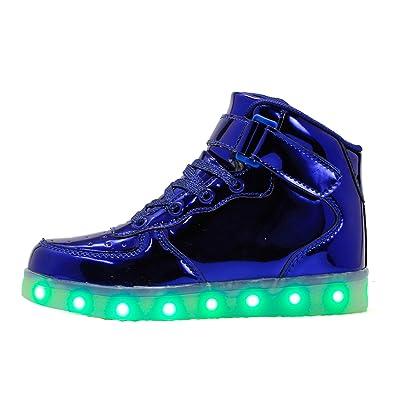 QLVY Jungen und Mädchen LED-Lichter oben hohe hohe USB-blinkende Aufladeeinheit LED beleuchtet Schuhe Rosa 25 zXFR80CR1k