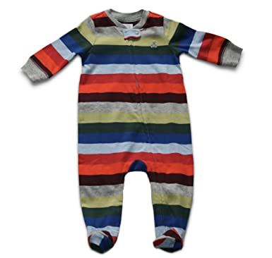 652e83c44099 Amazon.com  GAP Baby Boys Striped Long Sleeve Footed Zip Bodysuit ...