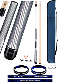 product image for Valhalla VA462 by Viking 2 Piece Pool Cue Stick, HD Graphic Transfers, Nickel Silver Rings, Ultra Opaque White, High Impact Ferrule, 18-21 oz. Plus Cue Case & Bracelet (VA462, 19)