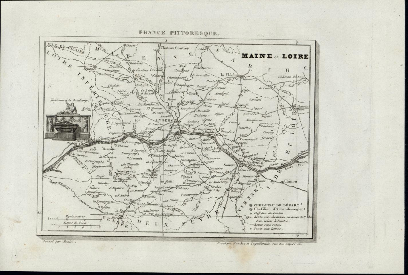 Maine Loire Tomb Of Bonchamp Angers River 1835 Scarce Antique France