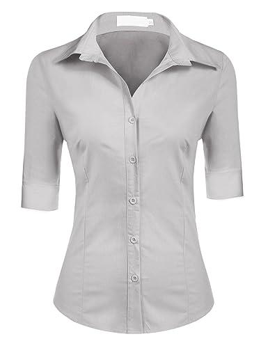 BeautyUU – Camisas – con botones – Básico – Clásico – manga 3/4 – para mujer
