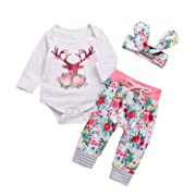 Happy Town Baby Girls Christmas Deer Print Long Sleeve Romper and Pants and Headband Clothes Set (6-12 Months)