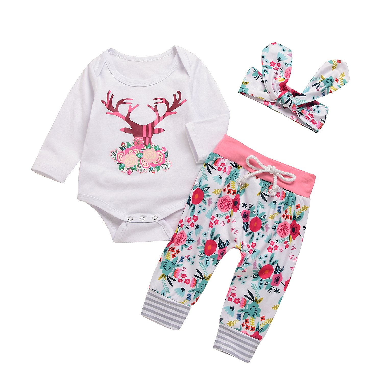 Happy Town Baby Girls Christmas Deer Print Long Sleeve Romper and ...