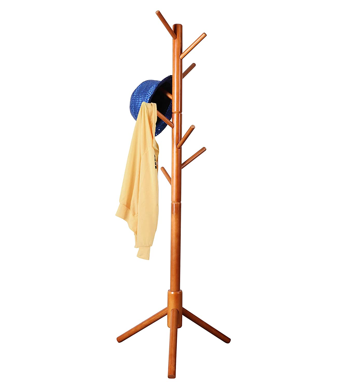 Entryway for Hat Bedroom Satchel Natural Free Standing Tree Hanger 8 Hooks Organizer Furniture in Living Room Neasyth Kids Wooden Coat Rack Scarves Umbrella Etc Easy Assembly