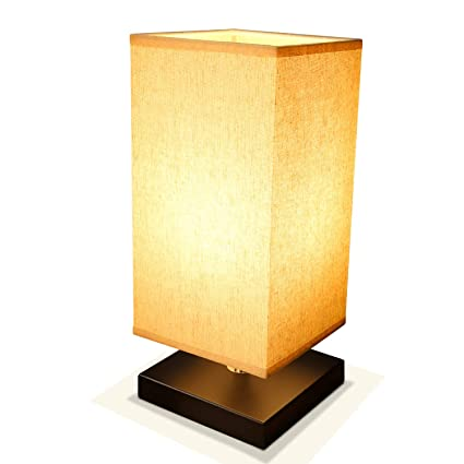 Bedside Lamp Table Desk Lamp, Acaxin Wood Minimalism Lamp with Unique  Fabric Shade, Nightstand/End Table Lamp, Bed Lamps for Bedroom/Living Room