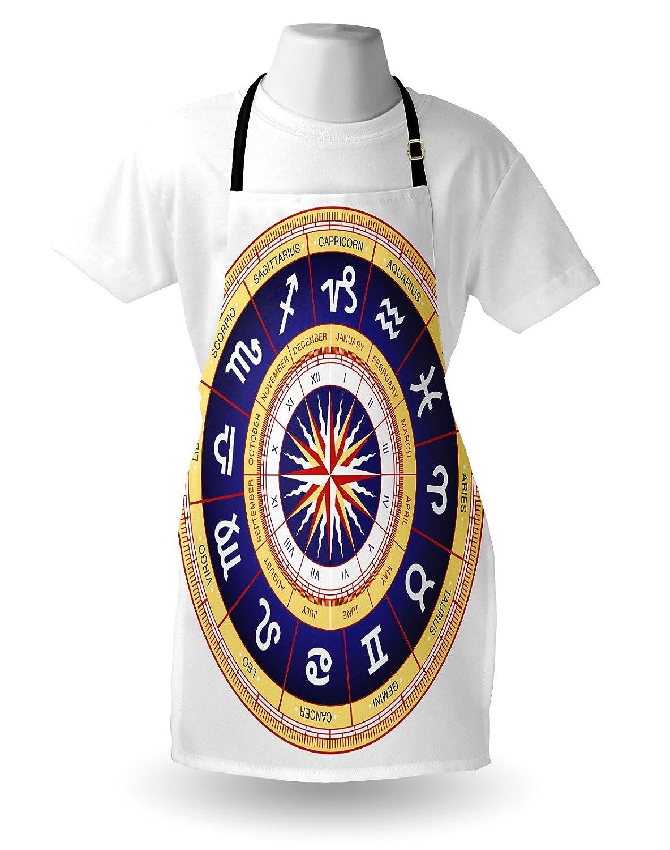 Amazon.com: Ambesonne Astrology Apron, Astrological Wheel Cancer Leo Virgo Libra Scorpio Symbols Image, Unisex Kitchen Bib Apron with Adjustable Neck for ...