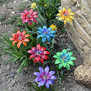 sitfe Floral Garden Stake Decor, Metal Daylily Flower Garden Stakes - Plant Pick Water Proof Metal Flower Stick Décor for Lawn Yard Patio (7PCS / Set)