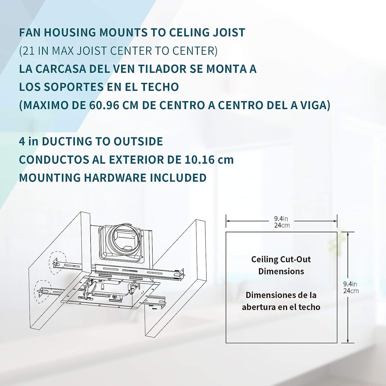 1.0 Sone Bathroom Ventilation and Exhaust Fan 110CFM TD-BF-01 Tech Drive Super-Quiet 110 CFM