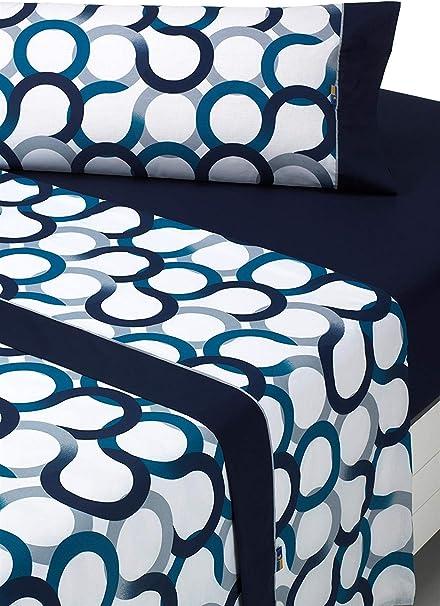 Oferta amazon: SABANALIA - Juego de sábanas Estampadas Aros (Disponible en Varios tamaños y Colores), Cama 150, Azul