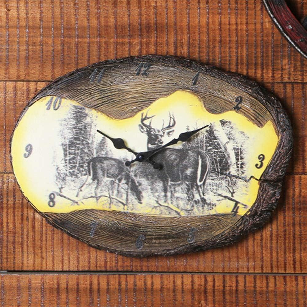 壁掛け時計 ブラウンインドの狩猟スタンプ時計手作りのペンダントホームデコレーションクリエイティブ壁掛け壁掛け時計38.4 * 27.3(センチ) JPLLYY