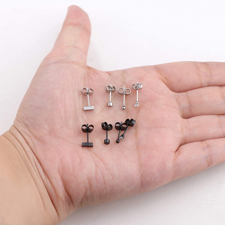 Hanpabum 8 Pairs Stainless Steel Tiny Stud Earrings For Women Girls Cz Geometric Cartilage Helix Earrings Small Ball /& Bar Earrings Set