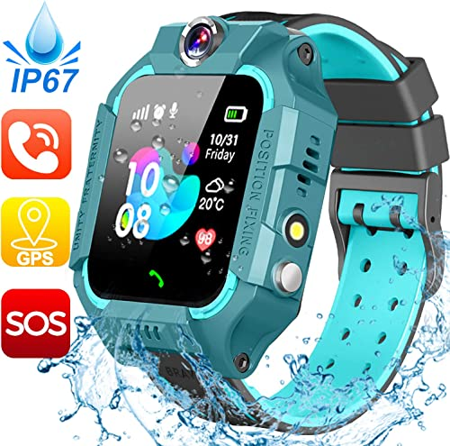 Waterproof Kids Smart Watch-GPS Tracker Smartwatch Phone for Boys Girls -Smart Watch with SIM Card Slot SOS Games Touch Digital Wrist Watch Holiday Toys Birthday Gifts Green