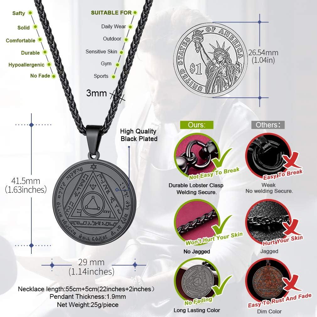 Bo/îte Cadeau FaithHeart Pentagramme de Salomon,Pendentif Pentacle Cl/é de Salomon,Sceau de Salomon,Talisman de Protection Amulette,Talisman Sceau Magique Argent//Or//Noir avec Cha/îne R/églable 22+2