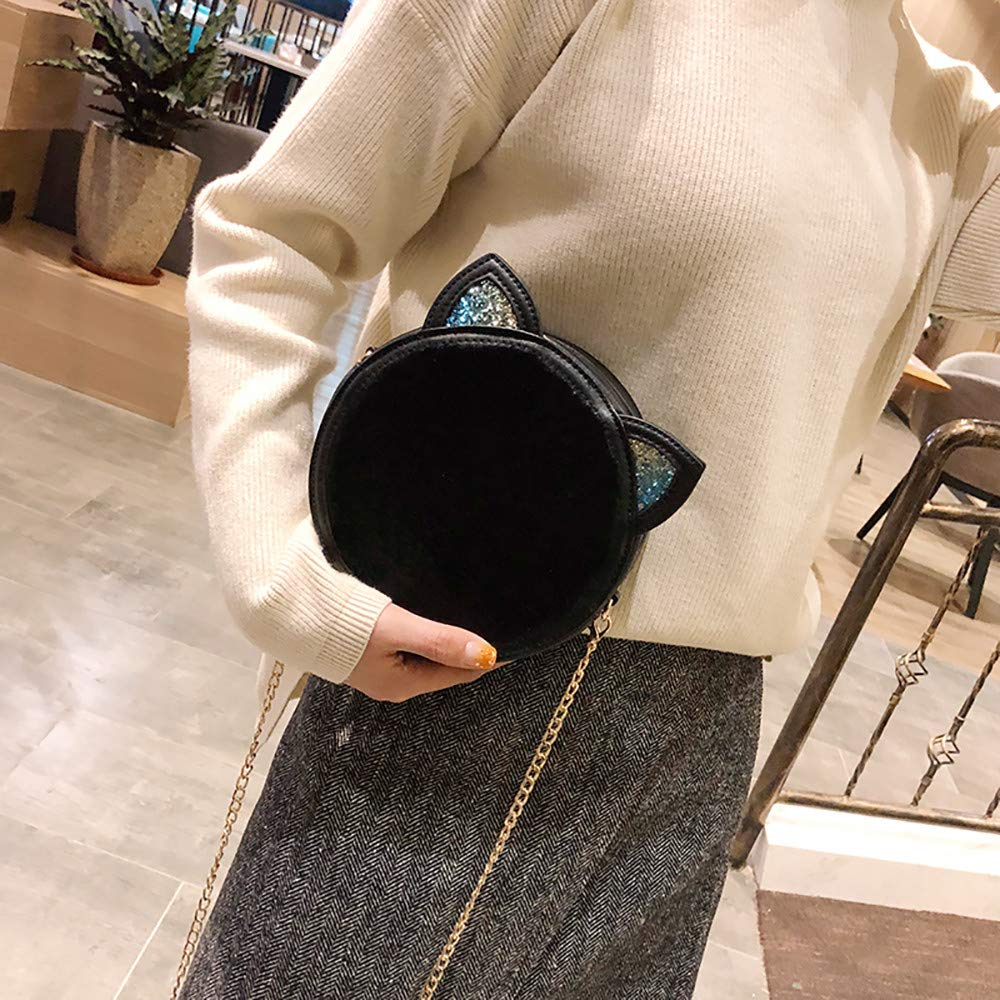 Womens Girls Cute Cat Ear Tote Plush Crossbody Bag Cartoon Round Handbag Chain Bag Purse: Handbags: Amazon.com