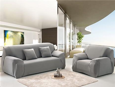 Cornasee Funda de sofá Elastica 2 plazas,Cubierta para sofá con Cuerda de fijación,Gris