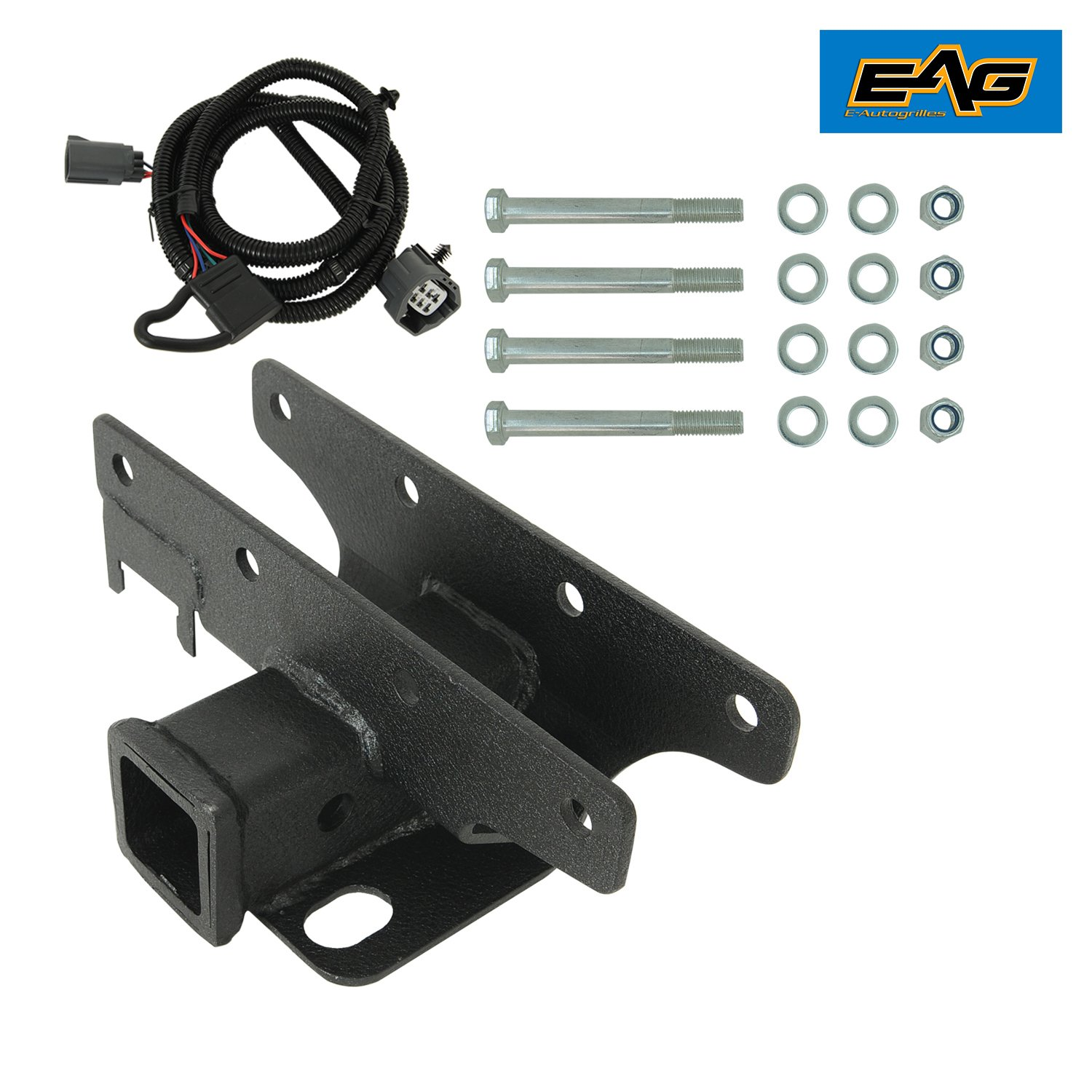 EAG 07-18 Jeep Wrangler JK Receiver Hitch (Class III 2') & Tailer Tow Wiring Harness