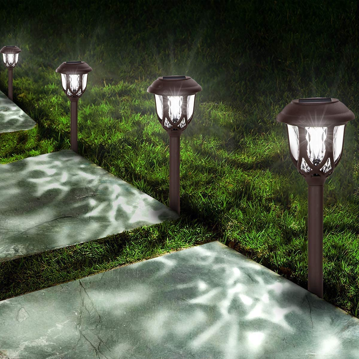 Solar Lights Outdoor Decorative,10 Packs Solar Pathway Lights,Powered Landscape Lighting,Waterproof Solar Powered Garden Yard Lights for Walkway Sidewalk Driveway-Cool White