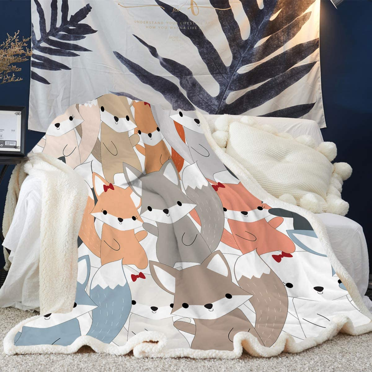 ARIGHTEX Cute Horse Blanket for Bed and Office Kids Girls Pretty Ponies Throw Blanket Cartoon Farm Animals Blanket 50 x 60 Inches