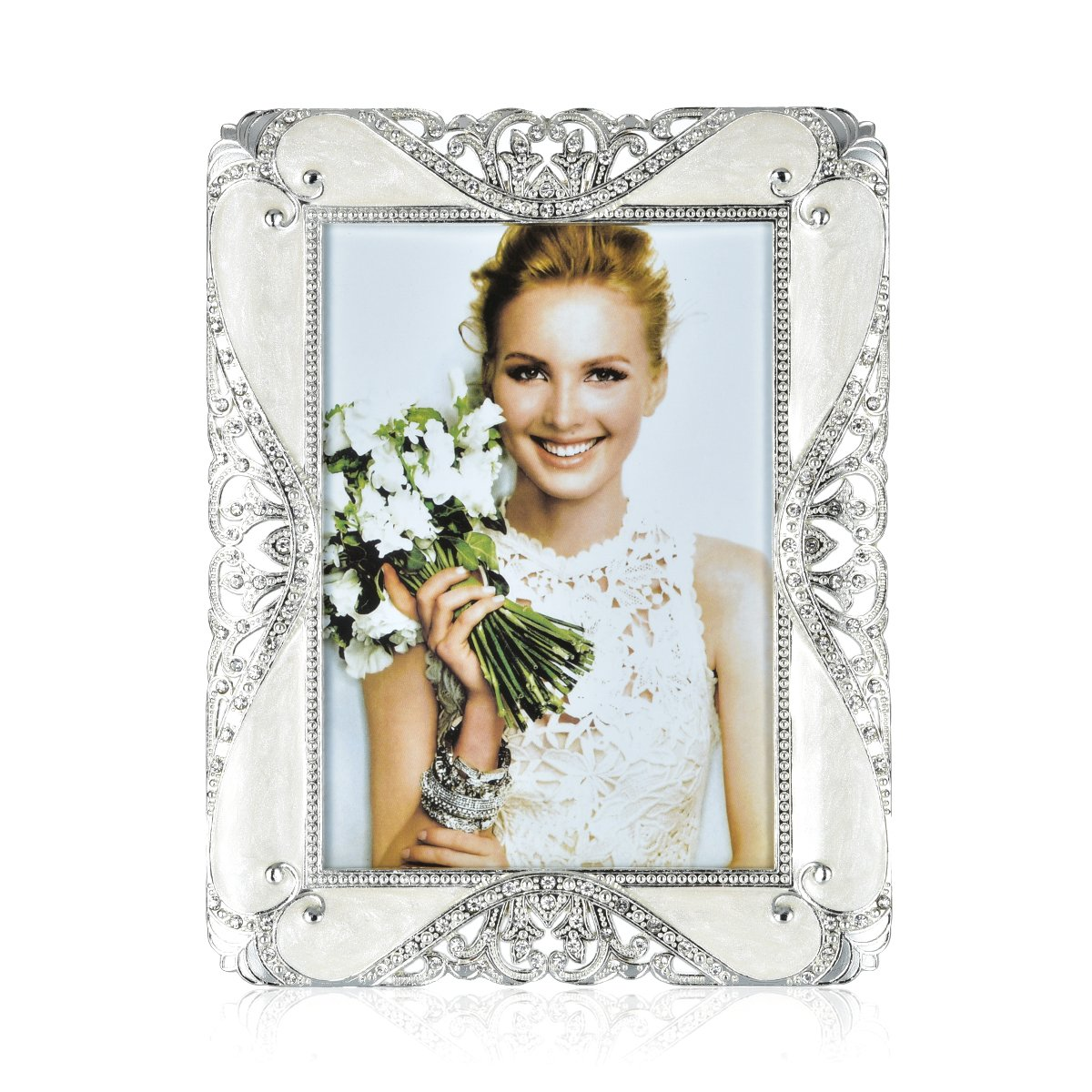 5x7 Picture Frame | College Photo Frame | Wedding Picture Frame Made of EPOXY and Silver Plated Metal | Inlay Rhinestones Photo Frame Blocks Display 5x7 Inch Picture for Family Love Baby