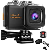 CHORTAU 【2019 New Version】 Action Camera 4K 20M WiFi Sony Sensor 30M Underwater, 2 Inches LCD Screen 170° Wild Angle Sport Camera, With IP68 Waterproof Case, 2 Rechargeable Batteries, Remote Control