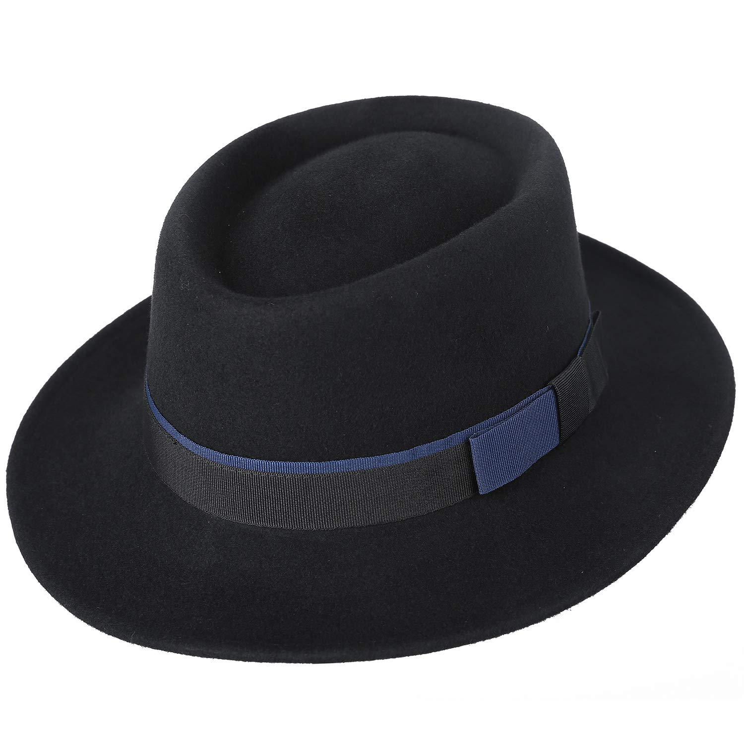 a08be6bf39ae8 Janetshats Men s Wool Felt Pork Pie Fedora Hat Crushable Boater Derby  Ribbon Cap