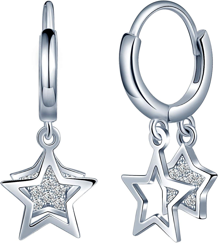 SixLuo-Pendientes Estrellas de Plata de ley 925 Pendientes Aros Idea Regalos para Mujer Chicas Viene con Caja Regalo