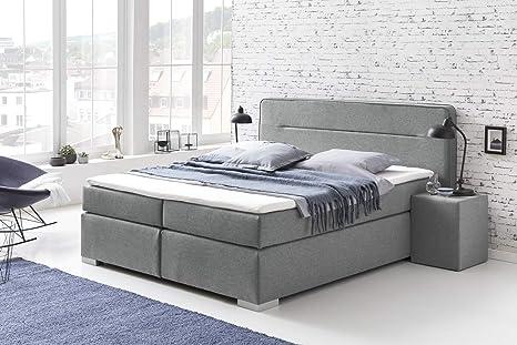 Furniture For Friends Loris - Cama con somier (Incluye colchón, núcleo de muelles ensacados de 7 Zonas, Cama Doble para Hotel), Color Gris