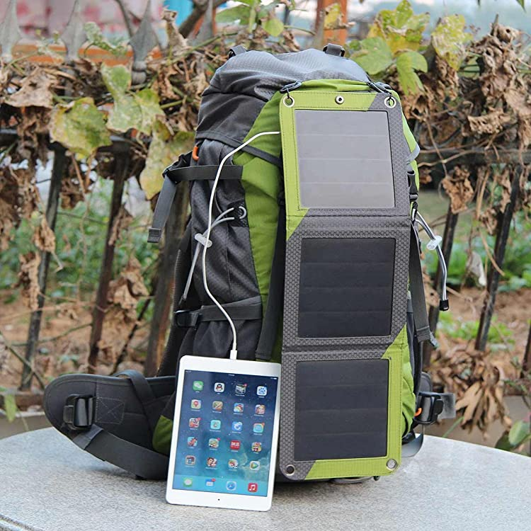Hiking Backpack Removable Frame Pack with 10W Foldable Solar Phone Charger, 10000mAH Battery Pack